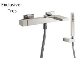 Single lever bath and shower mixer; Anti-limescale hand shower with directable support. Shower hose satin: steel finish