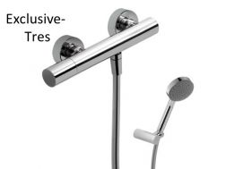 Single lever shower mixer; Anti-limescale hand shower with directable support. Shower hose satin chrome finish, handle