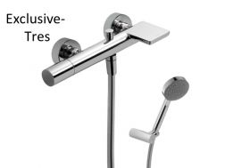 Single lever bath and shower mixer; with cascade. Anti-limescale hand shower with directable support. Shower hose satin chrome finish, handle