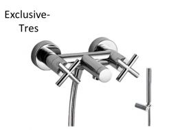 Bath and shower mixer; Anti-limescale hand shower with directable support. Shower hose satin chrome finish,