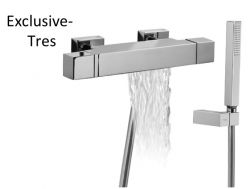 Wall thermostatic bath and shower mixer CUADRO; with cascade. Anti-limescale hand shower with directable support. Shower hose satin chrome finish