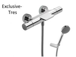 Wall thermostatic bath and shower mixer MAX; with cascade. Anti-limescale hand shower with directable support. Shower hose satin  chrome finish, handle