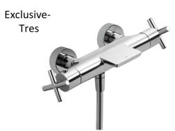 Wall thermostatic shower mixer; With cascade. Anti-limescale hand shower with directable support. Shower hose satin chrome finish