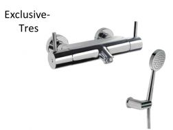 Wall thermostatic shower mixer; Anti-limescale hand shower with directable support. Shower hose satin Suitable for persons with physical disabilities: chrome finish, lever