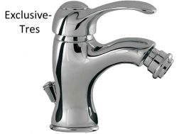 Single lever bidet mixer: old brass finish, lever and automatic drain