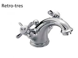 Single hole wash-basin mixer: old brass finish, handle and automatic drain