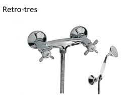 Shower mixer; Excentric union with silencer. Anti-limescale hand shower with directable support. Double interlocked shower hose: steel finish, handle