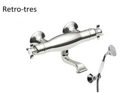 Wall thermostatic bath and shower mixer RETRO; Anti-limescale hand shower with directable support. Double interlocked shower hose: old brass finish