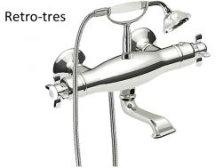 Wall thermostatic bath and shower mixer RETRO; Antilime hand shower. Double interlocked shower hose: old brass finish
