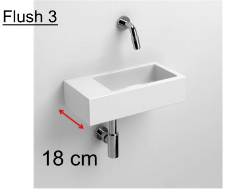 Hand basin, 18 x 36 cm, white ceramic, left hand beach, without tap hole - CLOU FLUSH 3