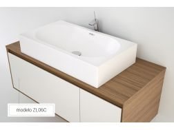 Washbasin 38x66 cm Resin Solid Surface, White ZL06C.