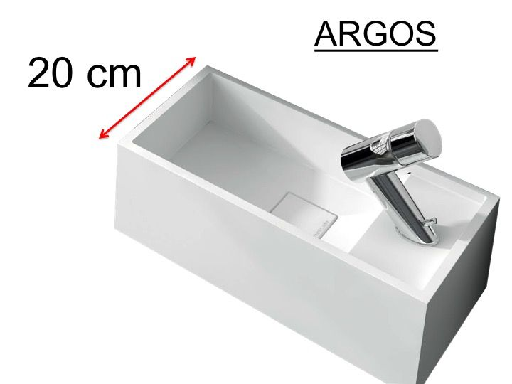 Washbasin Corian Type 20 Cm Resin Solid Surface White Argos