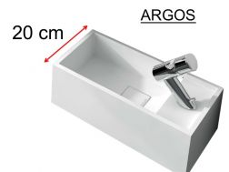 Washbowl, 20 x 40 cm, in solid surface, tap on the right - ARGOS
