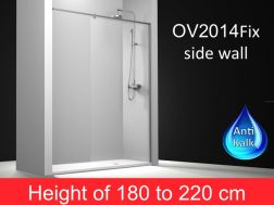 fixed shower screen 155 cm, with stabilizer bar from wall to wall, height 180-220 cm, OV2014.