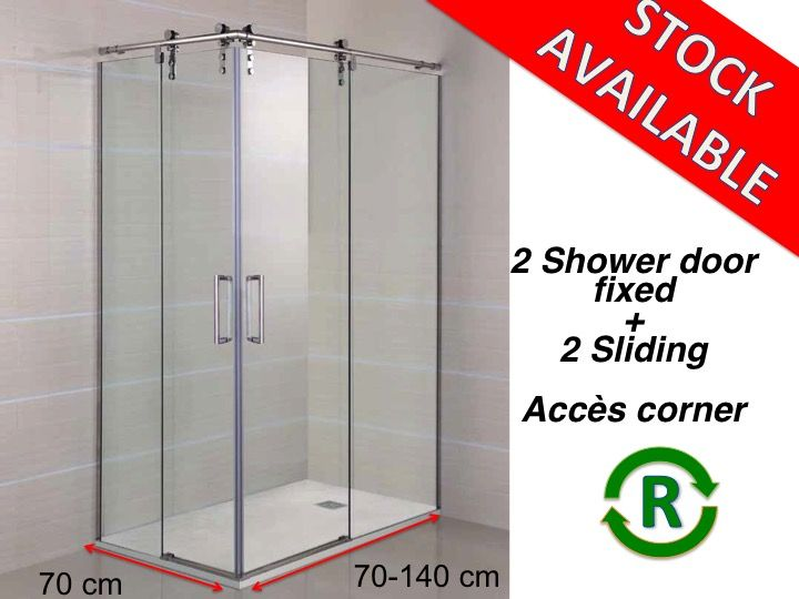 Width 70 length 70-140 cm with sliding shower door fixed in corner entry  sc 1 st  shower-trays-and-bathroom.com & Shower enclosures Accessoires - Width 70 length 70-140 cm with ... pezcame.com
