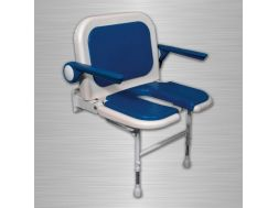 Shower seat upholstered in a wide U with backrest and armrests - Bathroom Mobility Aids