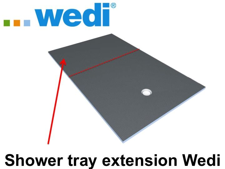 shower tray for extension to tile wedi with sloping panel