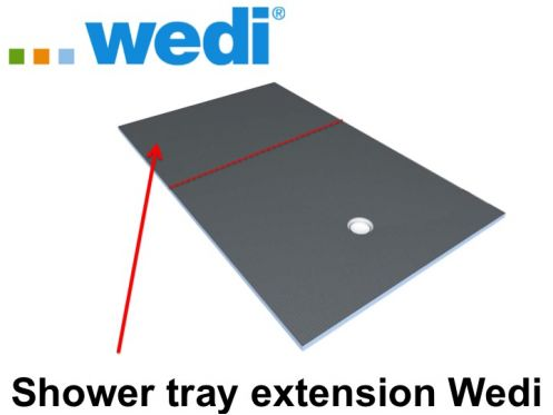 Shower tray for extension to tile Wedi, with sloping panel.