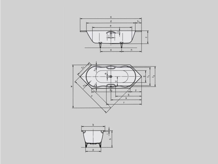 Sehr Bathtubs Longueur 180 - Bathtub 180 x 80 cm, steel enamel Kaldewei  HO43