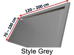 Shower tray 120 cm in resin, lateral gutter style extra flat Grey