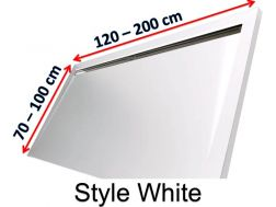 Shower tray 140 cm in resin, lateral gutter style extra flat White
