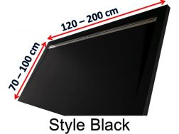 Shower tray 160 cm in resin, lateral gutter style extra flat Black