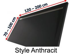 Shower tray 180 cm in resin, lateral gutter style extra flat Anthracite