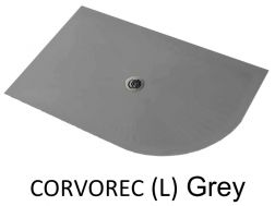 Shower tray 140 cm in resin, with quarter curve round, grey CORVOREC