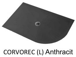 Shower tray 180 cm in resin, with quarter curve round, anthracit CORVOREC
