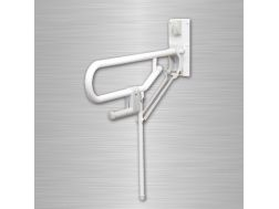 Hinged support bar with fixed foot Bathroom Mobility Aids