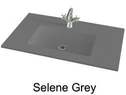 wash basins width 70 cm resin selene grey - 100 Cm Plan Vasque