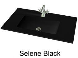wash basins width 130 cm resin selene black - 100 Cm Plan Vasque