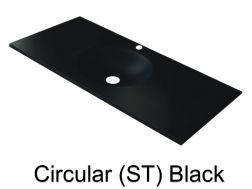 wash basins width 100 cm resin circular smooth st black - 100 Cm Plan Vasque