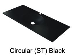 Wash Basins width 150 cm resin circular smooth ST black