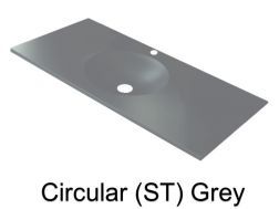 Wash Basins width 160 cm resin circular smooth ST grey