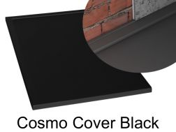Shower tray 140 cm in resin, Cosmo cover gutter black