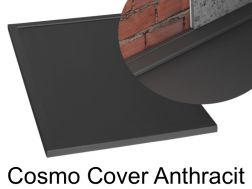 Shower tray 140 cm in resin, Cosmo cover gutter anthracit