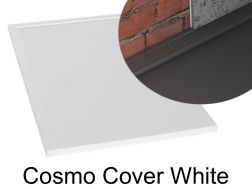 Shower tray 140 cm in resin, Cosmo cover gutter white