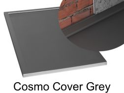 Shower tray 140 cm in resin, Cosmo cover gutter grey