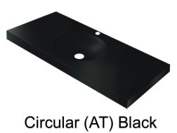 Wash Basins width 160 cm resin Circular smooth (AT) black