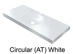Wash Basins width 200 cm resin Circular smooth (AT) white