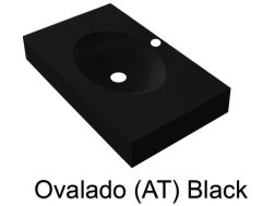Wash Basins width 200 cm resin Ovalado (AT) black