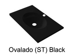 Wash Basins width 150 cm resin Ovalado ST black