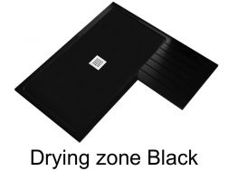 Shower tray 160 cm resin with drying zone, Drying zone black
