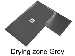 Shower tray 160 cm resin with drying zone, Drying zone grey