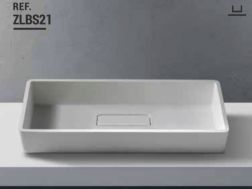 Washbasin 35x73 cm Resin Solid Surface, White ZLBS21.