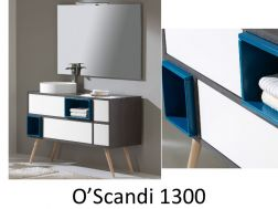 Bathroom cabinet with an original design of 130 cm, on legs, with a sink installed - OSCANDI 1300