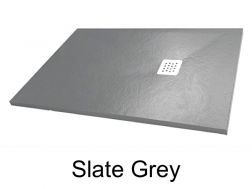 Shower tray 140 cm, in resin, small size and big size extra flat, slate effect grey