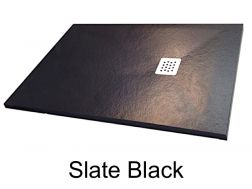 Shower tray 175 cm, in resin, small size and big size extra flat, slate effect black