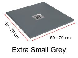 Shower tray 60 cm in resin,  grey extra small